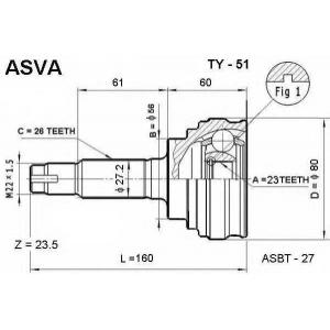 ASVA ty-51 Шрус внешний передний