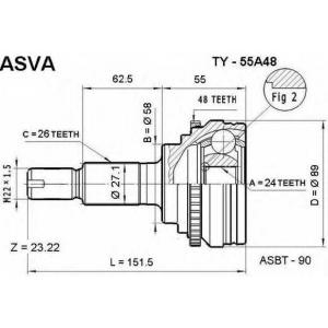 ASVA ty55a48 Шрус