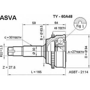 ASVA TY-60A48 Шрус наружный 27x63.5x30