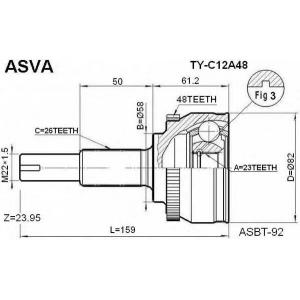 ASVA TY-C12A48 ШРУС НАРУЖНЫЙ 23X58X26 (COROLLA 120 EURO(UKP))