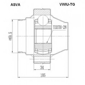 ASVA VWIU-TG ШРУС ВНУТРЕННИЙ 28X112 (TOUAREG 7L0 2002-)