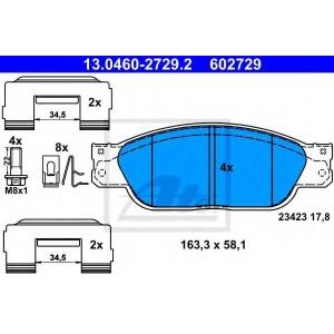 ATE 13.0460-2729.2 Комплект тормозных колодок, дисковый тормоз Ягуар С Тайп