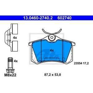 ATE 13.0460-2740.2 Комплект тормозных колодок, дисковый тормоз Рено Флюенсе