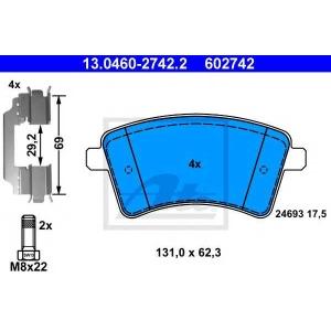 Комплект тормозных колодок, дисковый тормоз 13046027422 ate - RENAULT KANGOO BE BOP (KW0/1_) вэн 1.5 dCi