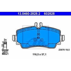ATE 13.0460-2828.2 Комплект тормозных колодок, дисковый тормоз Мерседес Ванео