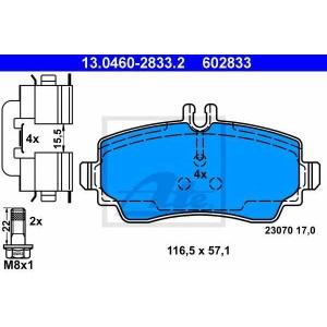 Комплект тормозных колодок, дисковый тормоз 13046028332 ate - MERCEDES-BENZ A-CLASS (W168) Наклонная задняя часть A 140 (168.031, 168.131)
