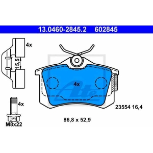 ATE 13.0460-2845.2 Комплект тормозных колодок, дисковый тормоз Рено Модус
