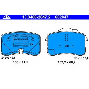 ATE 13.0460-2847.2 Комплект тормозных колодок, дисковый тормоз Ауди В8