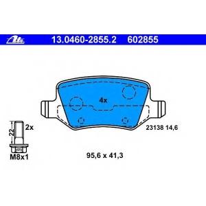 ATE 13.0460-2855.2 Комплект тормозных колодок, дисковый тормоз Мерседес Ванео