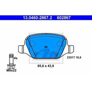 ATE 13.0460-2867.2 Комплект тормозных колодок, дисковый тормоз Лансия
