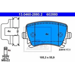ATE 13.0460-2880.2 Комплект тормозных колодок, дисковый тормоз Ауди Кью 3