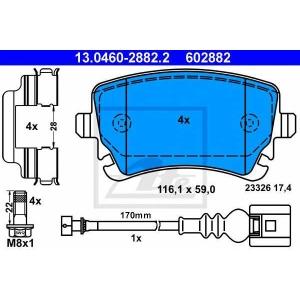 13046028822 ate Комплект тормозных колодок, дисковый тормоз VW TRANSPORTER c бортовой платформой/ходовая часть 1.9 TDI