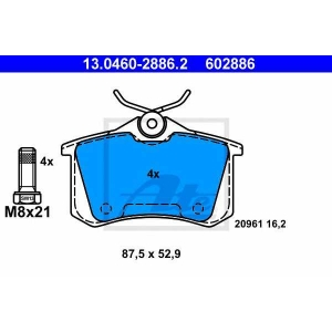 ATE 13.0460-2886.2 Комплект тормозных колодок, дисковый тормоз Ауди Оллроад