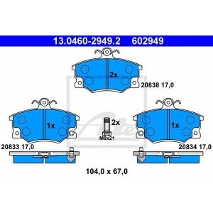 ATE 13.0460-2949.2 Комплект тормозных колодок, дисковый тормоз Фиат Барчетта