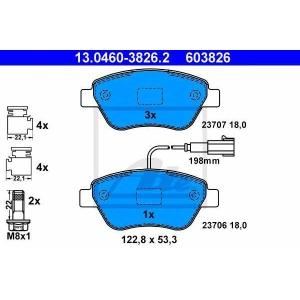 ATE 13.0460-3826.2 Комплект тормозных колодок, дисковый тормоз Фиат Кьюбо