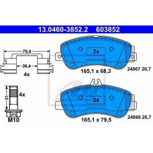 ATE 13.0460-3852.2 Комплект тормозных колодок, дисковый тормоз Мерседес Джт Л-Класс