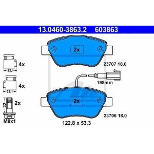 ATE 13.0460-3863.2 Комплект тормозных колодок, дисковый тормоз Фиат Кьюбо