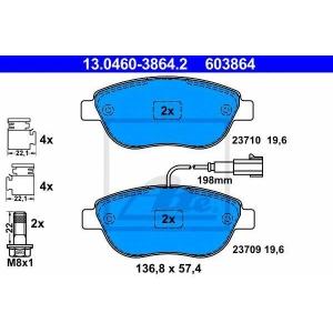 ATE 13.0460-3864.2 Комплект тормозных колодок, дисковый тормоз Фиат Пунто Эво