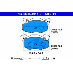 ATE 13.0460-3911.2 Комплект тормозных колодок, дисковый тормоз Рено Рапид