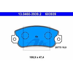 ATE 13.0460-3939.2 Комплект тормозных колодок, дисковый тормоз Фиат Уно