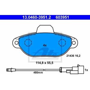 ATE 13.0460-3951.2 Комплект тормозных колодок, дисковый тормоз Лансия