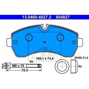 Комплект тормозных колодок, дисковый тормоз 13046048272 ate - MERCEDES-BENZ SPRINTER 5-t c бортовой платформой/ходовая часть (906) c бортовой платформой/ходовая часть 513 CDI 4x4 (906.135, 906.155, 906.253, 906.255)