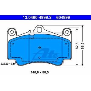 Комплект тормозных колодок, дисковый тормоз 13046049992 ate - PORSCHE 911 (996) купе 3.6 Turbo 4