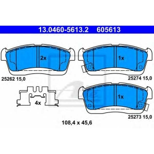 ATE 13.0460-5613.2 Комплект тормозных колодок, дисковый тормоз Дайхатсу Сирион