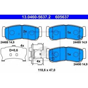 ATE 13.0460-5637.2 Комплект тормозных колодок, дисковый тормоз Хюндай Н1