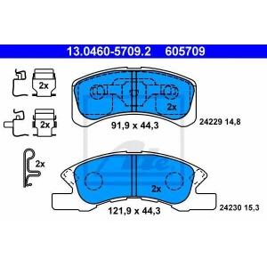 ATE 13.0460-5709.2 Комплект тормозных колодок, дисковый тормоз Дайхатсу Тревис