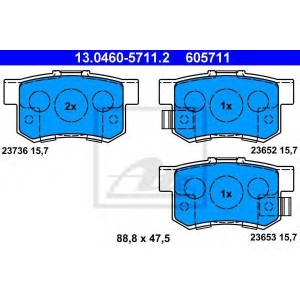 ATE 13.0460-5711.2 Комплект тормозных колодок, дисковый тормоз Хонда Фрв