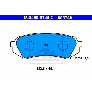 ATE 13.0460-5749.2 Комплект тормозных колодок, дисковый тормоз Лексус Л-Икс