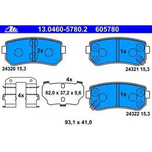 ATE 13.0460-5780.2 Комплект тормозных колодок, дисковый тормоз Киа