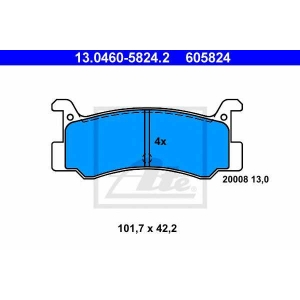 ATE 13.0460-5824.2 Комплект тормозных колодок, дисковый тормоз Дайхатсу