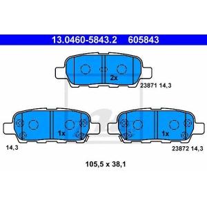 ATE 13.0460-5843.2 Комплект тормозных колодок, дисковый тормоз Рено Колеос