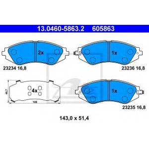 ATE 13.0460-5863.2 Комплект тормозных колодок, дисковый тормоз Дэу Лацетти