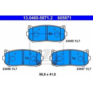 ATE 13.0460-5871.2 Комплект тормозных колодок, дисковый тормоз Киа Кларус
