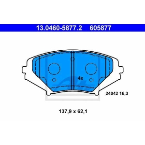 ATE 13.0460-5877.2 Комплект тормозных колодок, дисковый тормоз Мазда Р-Икс 8