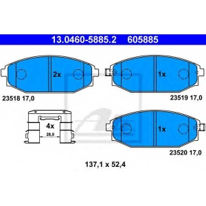 ATE 13.0460-5885.2 Комплект тормозных колодок, дисковый тормоз Хюндай Галлопер