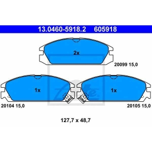 ATE 13.0460-5918.2 Комплект тормозных колодок, дисковый тормоз Акура