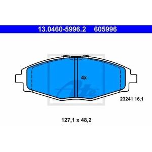 ATE 13.0460-5996.2 Комплект тормозных колодок, дисковый тормоз Дэу Матиз