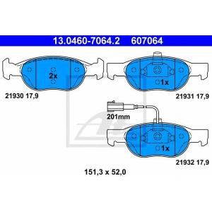 ATE 13.0460-7064.2 Комплект тормозных колодок, дисковый тормоз Фиат Брава