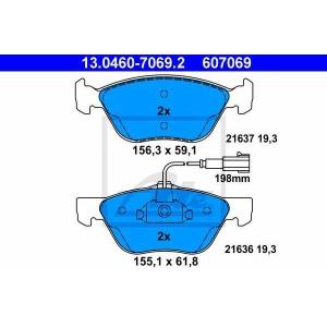 ATE 13.0460-7069.2 Комплект тормозных колодок, дисковый тормоз Фиат Мултипла