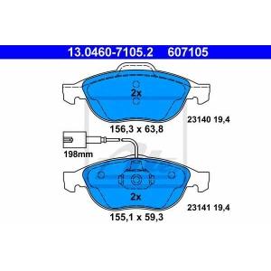 ATE 13.0460-7105.2 Комплект тормозных колодок, дисковый тормоз Лансия