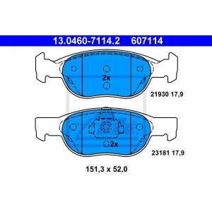 ATE 13.0460-7114.2 Комплект тормозных колодок, дисковый тормоз Лансия