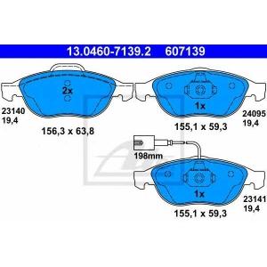 ATE 13.0460-7139.2 Комплект тормозных колодок, дисковый тормоз Лансия