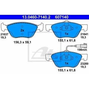 ATE 13.0460-7140.2 Комплект тормозных колодок, дисковый тормоз Фиат Мултипла