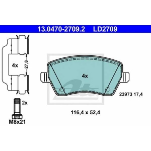 ATE 13.0470-2709.2 Комплект тормозных колодок, дисковый тормоз Дача Лоджи