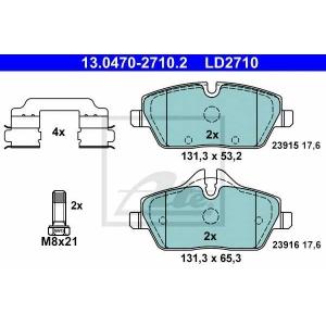 ATE 13.0470-2710.2 Комплект тормозных колодок, дисковый тормоз Мини