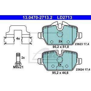 ATE 13.0470-2713.2 Комплект тормозных колодок, дисковый тормоз Мини